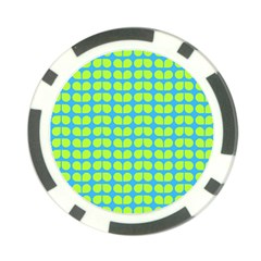 Blue Lime Leaf Pattern Poker Chip by creativemom
