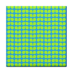 Blue Lime Leaf Pattern Face Towel by creativemom
