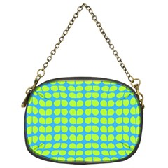 Blue Lime Leaf Pattern Chain Purse (two Sided)  by creativemom
