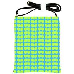Blue Lime Leaf Pattern Shoulder Sling Bag by creativemom