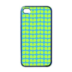 Blue Lime Leaf Pattern Apple Iphone 4 Case (black) by creativemom
