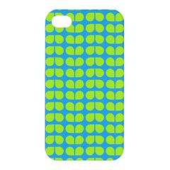 Blue Lime Leaf Pattern Apple Iphone 4/4s Premium Hardshell Case by creativemom