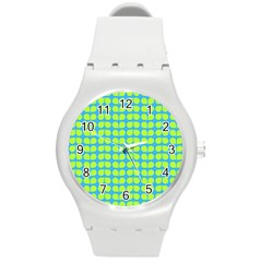 Blue Lime Leaf Pattern Plastic Sport Watch (medium) by creativemom