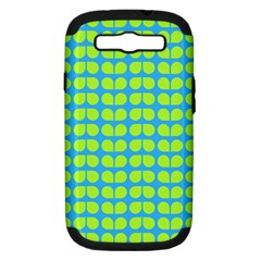 Blue Lime Leaf Pattern Samsung Galaxy S Iii Hardshell Case (pc+silicone) by creativemom
