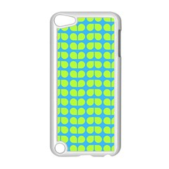 Blue Lime Leaf Pattern Apple Ipod Touch 5 Case (white) by creativemom