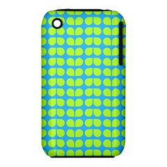 Blue Lime Leaf Pattern Apple Iphone 3g/3gs Hardshell Case (pc+silicone) by creativemom