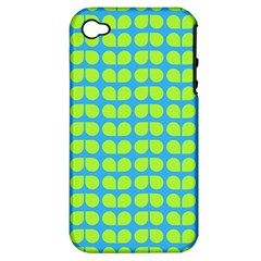 Blue Lime Leaf Pattern Apple Iphone 4/4s Hardshell Case (pc+silicone) by creativemom