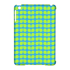 Blue Lime Leaf Pattern Apple Ipad Mini Hardshell Case (compatible With Smart Cover) by creativemom