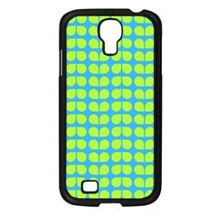 Blue Lime Leaf Pattern Samsung Galaxy S4 I9500/ I9505 Case (black) by creativemom