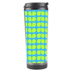 Blue Lime Leaf Pattern Travel Tumbler by creativemom