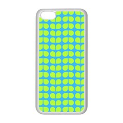 Blue Lime Leaf Pattern Apple Iphone 5c Seamless Case (white) by creativemom