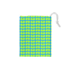 Blue Lime Leaf Pattern Drawstring Pouch (small) by creativemom