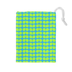 Blue Lime Leaf Pattern Drawstring Pouch (large) by creativemom