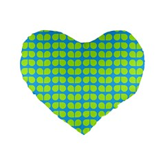 Blue Lime Leaf Pattern 16  Premium Flano Heart Shape Cushion  by creativemom