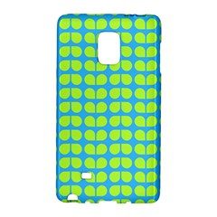 Blue Lime Leaf Pattern Samsung Galaxy Note Edge Hardshell Case by creativemom