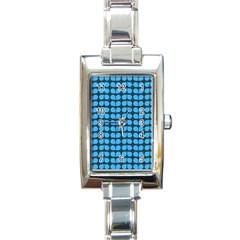 Blue Gray Leaf Pattern Rectangular Italian Charm Watch by creativemom