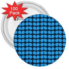 Blue Gray Leaf Pattern 3  Button (100 Pack) by creativemom
