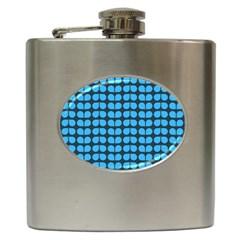 Blue Gray Leaf Pattern Hip Flask by creativemom