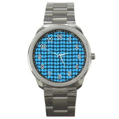 Blue Gray Leaf Pattern Sport Metal Watch by creativemom