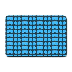 Blue Gray Leaf Pattern Small Door Mat by creativemom
