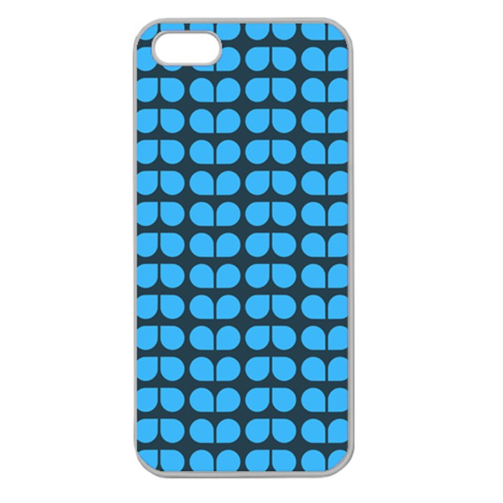 Blue Gray Leaf Pattern Apple Seamless iPhone 5 Case (Clear)