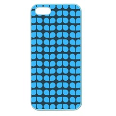 Blue Gray Leaf Pattern Apple Seamless Iphone 5 Case (color) by creativemom