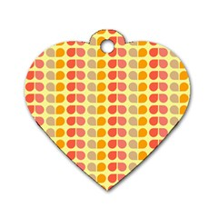 Colorful Leaf Pattern Dog Tag Heart (two Sided) by creativemom