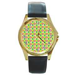 Cute Floral Pattern Round Leather Watch (gold Rim)  by creativemom