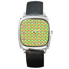 Cute Floral Pattern Square Leather Watch by creativemom