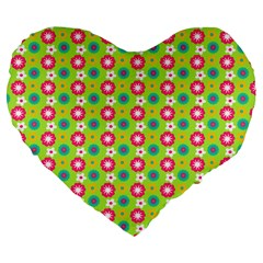 Cute Floral Pattern 19  Premium Flano Heart Shape Cushion by creativemom