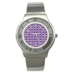 Cute Floral Pattern Stainless Steel Watch (slim) by creativemom