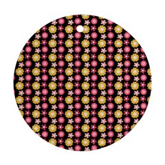 Cute Floral Pattern Round Ornament (two Sides) by creativemom