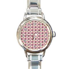 Cute Floral Pattern Round Italian Charm Watch by creativemom