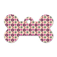Cute Floral Pattern Dog Tag Bone (one Sided) by creativemom