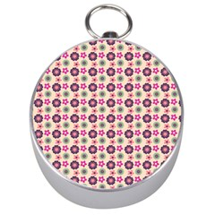 Cute Floral Pattern Silver Compass by creativemom