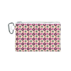 Cute Floral Pattern Canvas Cosmetic Bag (small) by creativemom