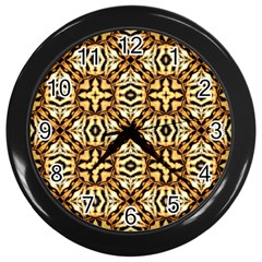 Faux Animal Print Pattern Wall Clock (black) by creativemom