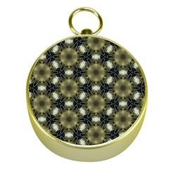 Faux Animal Print Pattern Gold Compass by creativemom