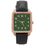 Cute Pretty Elegant Pattern Rose Gold Leather Watch  Front