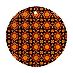 Cute Pretty Elegant Pattern Round Ornament (two Sides) by creativemom