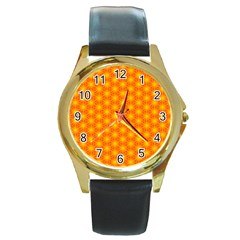 Cute Pretty Elegant Pattern Round Leather Watch (gold Rim)  by creativemom