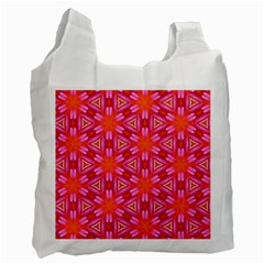 Cute Pretty Elegant Pattern White Reusable Bag (one Side) by creativemom