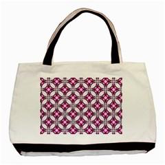 Cute Pretty Elegant Pattern Twin Sided Black Tote Bag by creativemom