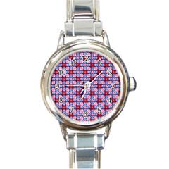 Cute Pretty Elegant Pattern Round Italian Charm Watch by creativemom