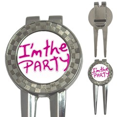 I Am The Party Typographic Design Quote Golf Pitchfork & Ball Marker by dflcprints