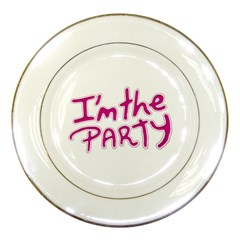 I Am The Party Typographic Design Quote Porcelain Display Plate by dflcprints