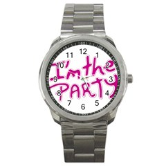 I Am The Party Typographic Design Quote Sport Metal Watch