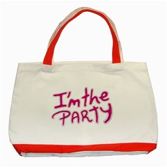 I Am The Party Typographic Design Quote Classic Tote Bag (red) by dflcprints