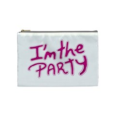 I Am The Party Typographic Design Quote Cosmetic Bag (medium) by dflcprints