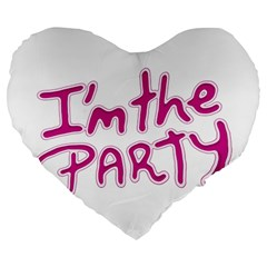 I Am The Party Typographic Design Quote 19  Premium Flano Heart Shape Cushion by dflcprints